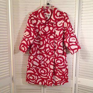 Ivy Jane Anthro S Red Cream Trench Coat Jacket